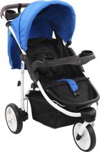 vidaXL Sittvagn 3 hjul blå och svart