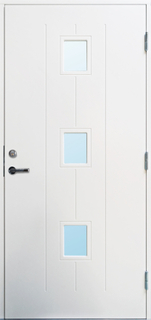 Ytterdörr Borgholm med glas 8x18 Vänsterhängd Cotswoldglas Vit NCS S0502-Y