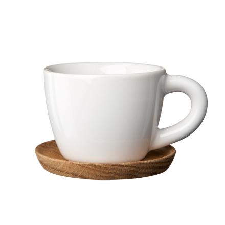 Höganäs - Höganäs Espressokrus med Underkop, Hvid Blank
