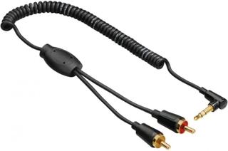 Hama kabel lyd 3,5 mm-2xRCA 0, 75 m kveilet kabel 90 ° TL