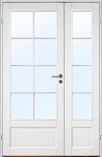 Parinnerdörr Kungsholmen - SP8+SP4 - Massiv Vit (standard) (NCS S 0502-Y) Klarglas