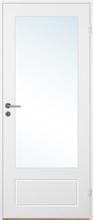 Innerdörr Bornholm - Kompakt dörrblad med spårfräst dekor & glasparti A15 Vit (standard) (NCS S 0502-Y)