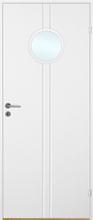 Innerdörr Bornholm - Kompakt dörrblad, spårfräst dekor & runt glasparti A17 Vit (standard) (NCS S 0502-Y)