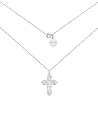 Naszyjnik srebrny z ażurowym krzyżem