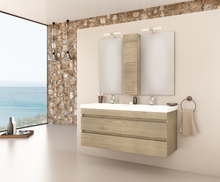 Möbelpaket Luxus 120 - Träfärgat med spegelskåp