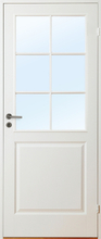 Innerdörr Gotland - Kompakt dörrblad med spröjsat glasparti SP6 Vit (standard) (NCS S 0502-Y) Frostat glas