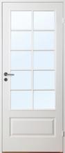 Innerdörr Gotland - Kompakt dörrblad med stort spröjsat glasparti SP10 Vit (standard) (NCS S 0502-Y) Frostat glas