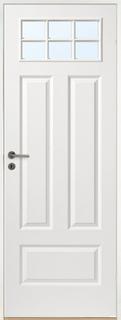 Innerdörr Gotland - Kompakt dörrblad med 4:spegel-indelning ink glasparti SP6 Vit (standard) (NCS S 0502-Y) Klarglas