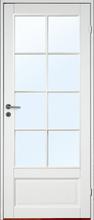 Innerdörr Kungsholmen - Massivt dörrblad med stort glasparti SP8 Vit (standard) (NCS S 0502-Y) Frostat glas