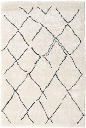 Shaggy Agadir - Off-White / Mørk Grå teppe 200x300 Moderne Teppe