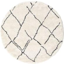 Shaggy Agadir - Off-White / Tumma Harmaa -matto Ø 200 Moderni, Pyöreä Matto