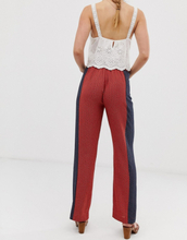 Brave Soul gitta wide leg trousers with contrast print panels-Red