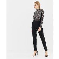 Frock & Frill - Figursydd jumpsuit med hög krage och utsmyckningar - Svart