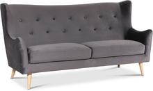 Pixie 3-sits soffa hög rygg 202 cm - Mörkgrå (Sammet)