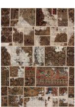 Handknuten persisk patchworkmatta ull/garn tabriz 172x231cm