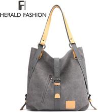 Herald Fashion Large Pocket Casual Tote Women's Handbag Shoulder Handbags Canvas Leather Capacity Bags For Women Bolsas Sac