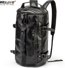 Men Leather Bucket Backpack Multifunctional Travel Bag Large Capacity Luggage Male Backpacks Travel Shoulder Bags XA607ZC
