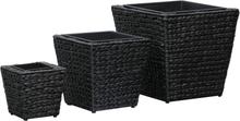 vidaXL Odlingslådor 3 st vattenhyacint svart