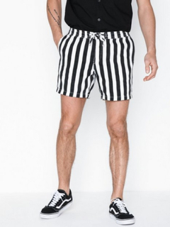 Topman Black and White Stripe Pull On Shorts Shorts Black/White