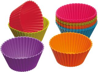 Kitchen Craft - Colourworks, Muffinsformer Silikon, 12-Pakk, 7cm
