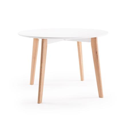 Department - Look Spisebord Ø 110 cm, Hvid/Egetræ