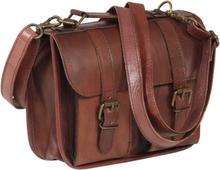 Vidaxl axelremsväska äkta läder brun