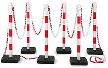 Absperrpfosten PVC mit Kette 6 PVC Pfosten + 12 m Kette rot/weiß