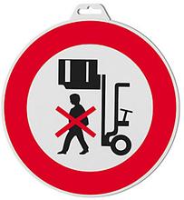 Hinweischild ''Nicht unter angehobene Lasten stehen''