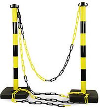 Absperrpfosten PVC mit Kette 2 PVC Pfosten + 5 m Kette gelb/schwarz