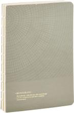 Monograph - Geometric notesbog 13x18cm, grå/grøn