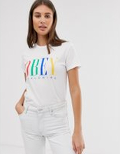 Obey relaxed t-shirt with front logo in rainbow - White
