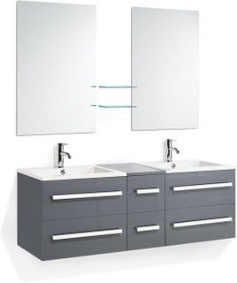 Badrumsmöbler väggskåp 2 spegel 2 tvättställ och glashylla grå MADRID