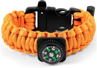 Orange Paracord Armband med Kompass