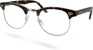 Brun/Guldfärgade Vintage Glasögon med Klara Glas
