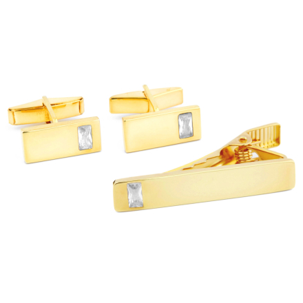 Kort 925s-Sæt i Guld med Firkantede Zirkoniasten - Trendhim