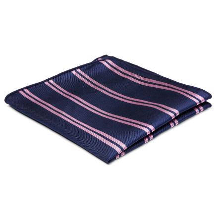 Marineblå Silkelommeklud med Lyserøde Dobbeltstriber