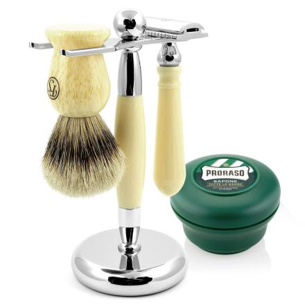 Cremefarvet Silvertip Barbersæt - Trendhim