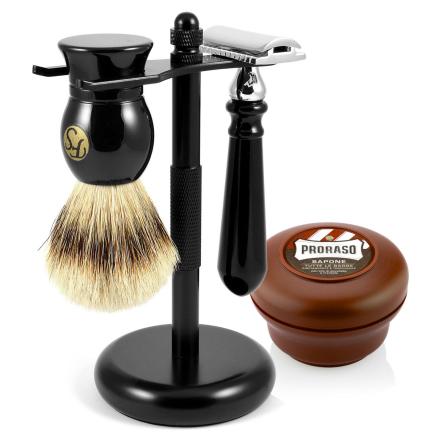 Sort Silvertip Barbersæt - Trendhim