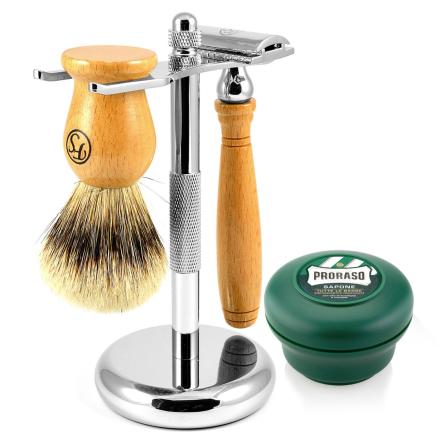 Silvertip Barbersæt i Bøgetræ