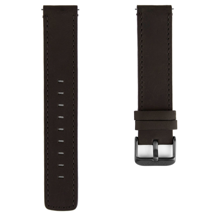 Musta & metallinharmaa ranneke kellolle mustilla ompeleilla