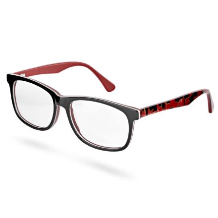 Briller med Svart og Rød Innfatning