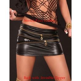 Sexy Black Mini Skinny Leather Skirt