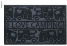 Dørmatte I Love Camping 40x60 cm, svart, pp/gummi