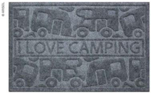 Dørmatte ''I love camping'' 40x60 cm grå