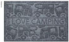 Dørmatte Kera kamp 40x60 cm, grå, pp / gummi, motiv: bobil / campingvogn