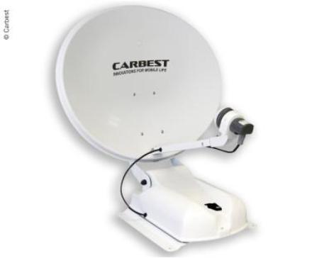 CARBEST ANTENNE 60 DUO HVIT, 60CM,2 SATELLITTER+LCD-SKJERM