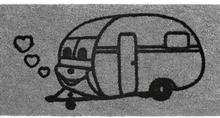 Dørmatte med campingvognmotiv, 25x50 cm