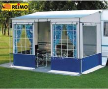Reimo markisetelt Villastore, lengde 5 m, lys blågrå