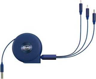 Multikabel Blå - USB till USB-C/Lightning/MicroUSB