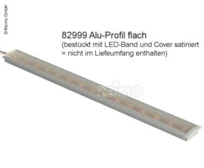 ALUMINIUM PROFIL FLAT L1, 5M X H8MM + 2 ENDESTYKKER FOR LED-STRIPER